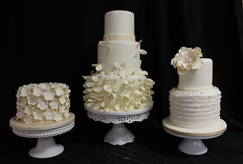 Ivory Flowers Wedding Cake Trio