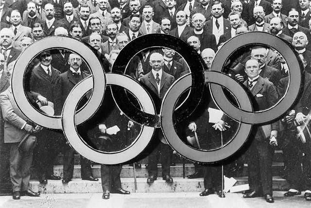 "Baron Pierre de Coubertin with the Olympic rings. The Royal Opera House <a href=""http://www.roh.org.uk/about/the-olympic-journey"" rel=""nofollow"">www.roh.org.uk/about/the-olympic-journey</a>"