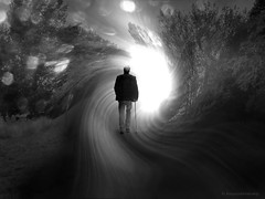 Dematerialization (h.koppdelaney) Tags: life travel light vortex man art digital photoshop death transformation symbol time picture philosophy mind soul metaphor dying genesis psyche symbolism psychology archetype transcendence dematerialization koppdelaney