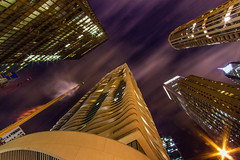 League of Giants (Marqeye) Tags: longexposure sky chicago buildings skyscrapers wideangle nighphotography aquatower scenicchicago iconicchicago