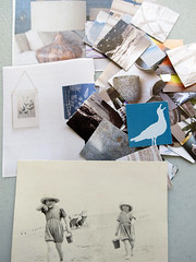 paper pieces (Carolyn Saxby) Tags: blue sea texture beach yellow vintage paper grey photo seaside artist squares mosaic thoughts theme inspiring littlegirls bucketandspade recurring onmydesk playinginthesand downonthebeach carolynsaxby