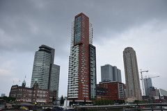 Skyscrapers in Rotterdam (lucasual) Tags: netherlands rotterdam city cityscape skyscrapers wilhelminapier architecture sky clouds