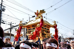 mikoshi moving on the street, Sumiyoshi-taisha, Osaka (jtabn99) Tags: mikoshi osaka sumiyoshitaisha japan nippon nihon 20160801 people chochin tram rail