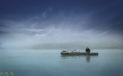 fisherman (vy.vy) Tags: sky clouds lake landscape outdoor naturallight nature vietnam boat water reflection alone blue