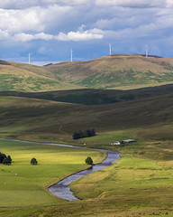 Elvanfoot (dalejckelly) Tags: canon landscape scotland vista summer elvanfoot lanarkshire sun cloud river clyde water farm house windfarm turbine wind trees tree