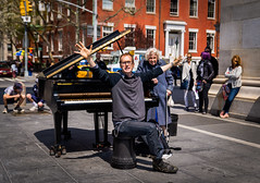 The Glorious End (Ash and Debris) Tags: usa joy street people city emotion streetlife ovations man granny newyork citylife audience nyc life player musician park piano music oldwoman finish