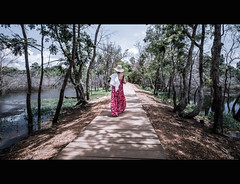 woman on the way (wianphoto) Tags: sunny wianphoto streetscene cloudy water womanwianphoto stones clouds olympus sun summer 2014 asia tree asien forest cambodia m918mm sky trees penpl5 angkor temple people