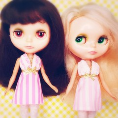 Soft focus Kenner sisters, Anouk and Ursula modelling two cute dresses that will be available in tomorrow's shop update 💖
