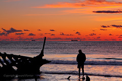 A look into the past (Howard Ferrier) Tags: oceania people contrejour cargoship waves ssdickey male beach silhouette sunshinecoast australia queensland dawn shipwreck dickybeach caloundra dickeybeach themes time seq marinevessel transport
