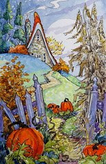 Autumn Jewels original Watercolor from Storybook cottage Series (cottagelover1953) Tags: alida akers cottage storybook fall autumn pumpkins moon home house harvest watercolor painting