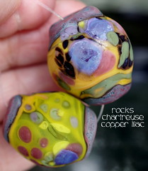 Rocks Chartreuse Copper Lilac (Laura Blanck Openstudio) Tags: openstudio openstudiobeads handmade lampwork glass beads bead set jewelry fine arts art artist artisan made usa big rocks pebbles nuggets faceted stones whimsical funky odd organic abstract earthy colorful multicolor speckles frit transparent winner show festival published murano warm matte glow etched opaque frosted chartreuse yellow green parrot lilac lavender grape purple violet mauve rose copper lime bright