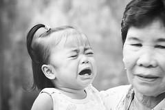 When she cry.. #granny #baby #crying #totherescue #portraits #blackandwhite (hijo_de_ponggol) Tags: when she cry granny baby crying totherescue portraits blackandwhite