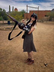 Steampunk  At the Gate 002 (thePhotographerRaVen) Tags: steampunk tucson oldtucson arizona wwwc wwwc5 wildwest goggles weapons fantasy beautiful woman iphone photosbyraven