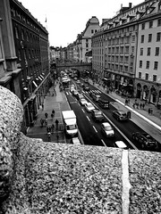 Sweden | Stockholm (DILADIDA) Tags: sweden visitsweden stockholm stockholmcity city bnw blacknwhite blackandwhite blackandwhitephotography street road houses buildings people cars architecture outdoor streetphotography monochrome bridge view