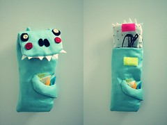 Sem (Papuzzini Smellow) Tags: baby art love ecology monster bag toy toys design funny handmade milano crafts craft case softies gifts fantasy gift present packaging mostro peluche peluches mostri pupazzi dinosauro reutilization smellow papuzzini