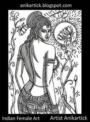Indian Woman Art - Pen drawing 021 - Artist Anikartick,Chennai,India
