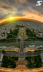 Top of the world (A.G. Photographe) Tags: sunset fish paris france seine french nikon raw eiffeltower eiffel fisheye toureiffel champdemars ag fx péniche 16mm quai hdr parisian anto défense d800 couchédesoleil parisienne trocadéro xiii parisien gustaveeiffel hdr1raw antoxiii agphotographe oeilpoisson