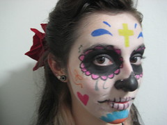 (breakfast on pluto) Tags: red party flower color colors girl face painting skull costume colorful faces folk culture mexican redflower smle mexicanskull