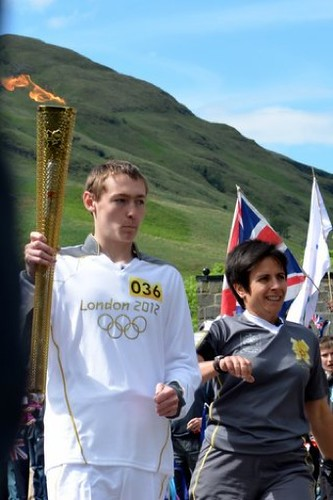 Mules Clark at Tarbet with the Olympic Torch