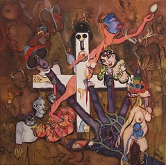 ACCROCHAGE (STIGMATES) (le drapeau suisse) (Claude Bolduc) Tags: artbrut artsingulier horsnorme visionaryart lowbrow surrealism autodidacte selftaugh switzerland