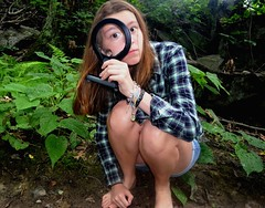 mysterious (allison.johnston) Tags: me glass girl mystery self woods pretty body magnifyingglass mysterious magnify magnifying crouched andyesyouareaveryprettygirl