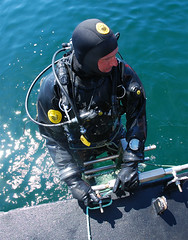 Viking diver on dive ladder (Ansell Protective Solutions) Tags: black dry diving rubber professional equipment suit commercial viking drysuit scandinavian protech technicaldiving commercialdiving vulcanizedrubber divingdrysuit recreationaldiving vikingdrysuit militarydiving rubberdrysuit sportsdiving vikingprotech ansellprotectivesolutions