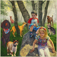 Crowded Picture (jta1950) Tags: boy portrait people dog pet cats pets cute dogs girl animals rock kids cat children kid feline child background adorable canine poodle frame persons enfant garcon