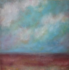 Coming Home (traceynicholas) Tags: blue red summer sky abstract art clouds landscape oilpainting