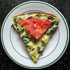 Frittata Squircle (Lori L. Stalteri) Tags: china food white green home cooking garden tomato circle pie buffalo dish gardening swiss egg plate vegetable slice e round squaredcircle squircle zucchini squared chard frittata