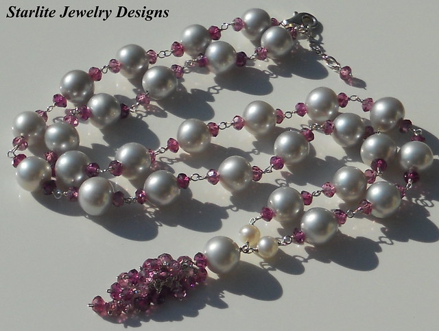 Natural Grey Freshwater Pearl Necklace ~ Accented with Rhodolite Garnets ~ Pearl Drop Necklace