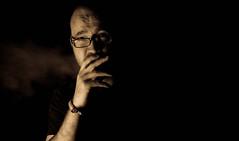 I am a Slow Death (Carl Ara) Tags: portrait white selfportrait black monochrome face sepia glasses cigarette smoking nicotine selfie sidelight 52in52 52shots