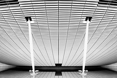 Soucoupe architecturale (ThomasPerron) Tags: city light urban blackandwhite bw white abstract black france building art architecture circle geotagged photography photo nikon noir lyon photos thomas geometry piano monochromatic photograph minimalism blanc renzo artistique contrasted graphisme soucoupe cond d700 perron