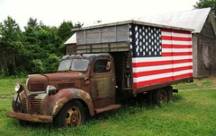 Dodge Flag Truck (Larry Myhre) Tags: rusty vintage dodge truck flag southold newyork nyctrivtjune2016