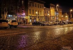 Thames Street at night in Baltimores historic Fells Point (PhotosToArtByMike) Tags: fellspoint baltimore maryland md cobblestonestreet fellspointnationalhistoricdistrict thamesstreet historicwaterfront waterfrontcommunity storefronts 18thand19thcenturyhomes baltimoreharbor maritime