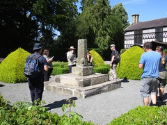 3217 The Chester cross pillar being investigated and discussed (Andy panomaniacanonymous) Tags: 20160806 cymru garden ggg llangollen pillar plasnewydd ppp sss stone wales