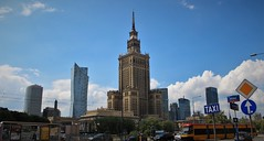 Warsaw Palace of Culture and Science (james_savage95) Tags: poland europe warsaw palace culture science tower city centre cbd tram sign foreground travel view