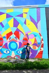 Houston Colorful (Cristali Designs) Tags: houston texas murals shreddi bike squeleton pink artwork artist creative blue streetart graffiti cristalidesigns urbanart wallart murales colour colorful