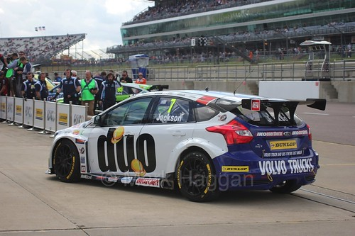 Mat Jackson heads to Parc Ferme at Rockingham, August 2016
