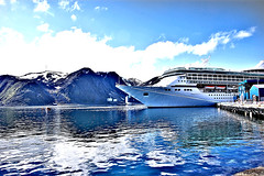 "Royal Caribbean Arctic circle cruise ship ""Legend of the Seas"" docked at Honningsvag, Norway (somabiswas) Tags: honningsvag norway cruise ships fjords mountains seascape landscape royal caribbean legendoftheseas arcticcircle infinitexposure saariysqualitypictures"