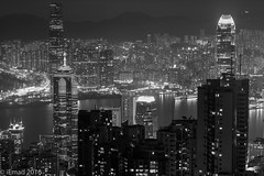The shining cityscape... (EHA73) Tags: aposummicronm1290asph leica leicamm typ246 blackandwhite bw hongkong nightphotography travel cityscape victoriaharbor buildings towers skyscrapers night lights
