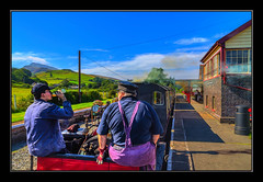 Thirsty Work (Kevin, (Away 21 Oct / 9 Nov) Traveling) Tags: railwaystation trains bala hdr wales llanuwchllyn kevinwalker canon1855mm sky clouds