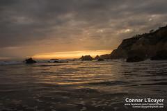 Sea of Golden (Connar L'Ecuyer) Tags: socal beach landscape sunset cloud ocean clouds goldenhour cloudy malibu elmatador rocks