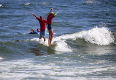 Tandem surfers participate in the Manasquan Classic Longboard Contest. (apardavila) Tags: atlanticocean jerseyshore manasquan manasquanbeach manasquanclassiclongboardcontest surf surfboard surfer surfing tandemsurfing wave waves