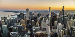 Chicago sunset (Michele Buttazzoni) Tags: landscape cityscape sky sunset lake downtown travel sun tower architecture buildings skyscraper building trump willis chicago usa dusk skyline panorama grattacielo tramonto lago
