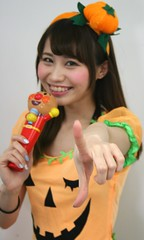 You Haven't Even Thought About (emotiroi auranaut) Tags: girl woman lady halloween pretty cute adorable beauty beautiful grin grinning smile smiling point pointing fingers finger hand japan japanese asia asian anpanman mike microphone pumpkin attractive female feminine femininity