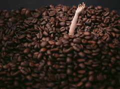 69/365 Drowning in Coffee (itskatrinayu) Tags: coffee bean hand self portrait 365 project conceptual manipulation food