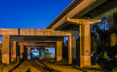 elevated reinforcements (pbo31) Tags: california bayarea nikon d810 color october 2016 boury pbo31 fall night dark bart tracks elevated line metro sanleandro eastbay alamedacounty yellow support publictransit infinity