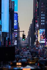 Streets (mrsimonlion) Tags: nyc architecture city ny new york canon street 70200 mm lens f 28 manhattan downtown sunrise lights light sun set sunset car cars advertisement rush hour bussy
