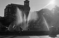 Washington Square Park, New York City (OQ62) Tags: 6x45 blackandwhite ilfordhp5 analog epsonv700 film mediumformat pentax645n nyc new york city newyorkcity washingtonsquarepark washington square park fountain street photography streetphotography