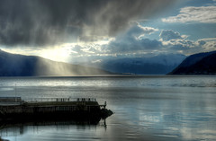 Sognefjord by Leikanger grazed by the Norse God Tor (AnneCN) Tags: ocean blue sea sky sun nature water clouds nikon himmel fjord vann skyer hav bl sj leikanger sognogfjordane nikond90 solnatur
